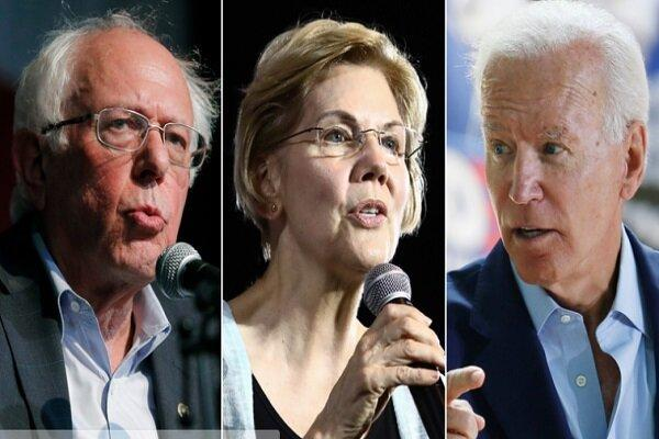 پیشی دریافت ساندرز و وارن از بایدن در رقابتهای ریاست جمهوری آمریکا