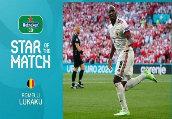 یورو 2020، لوکاکو بهترین بازیکن دیدار دانمارک - بلژیک لقب گرفت